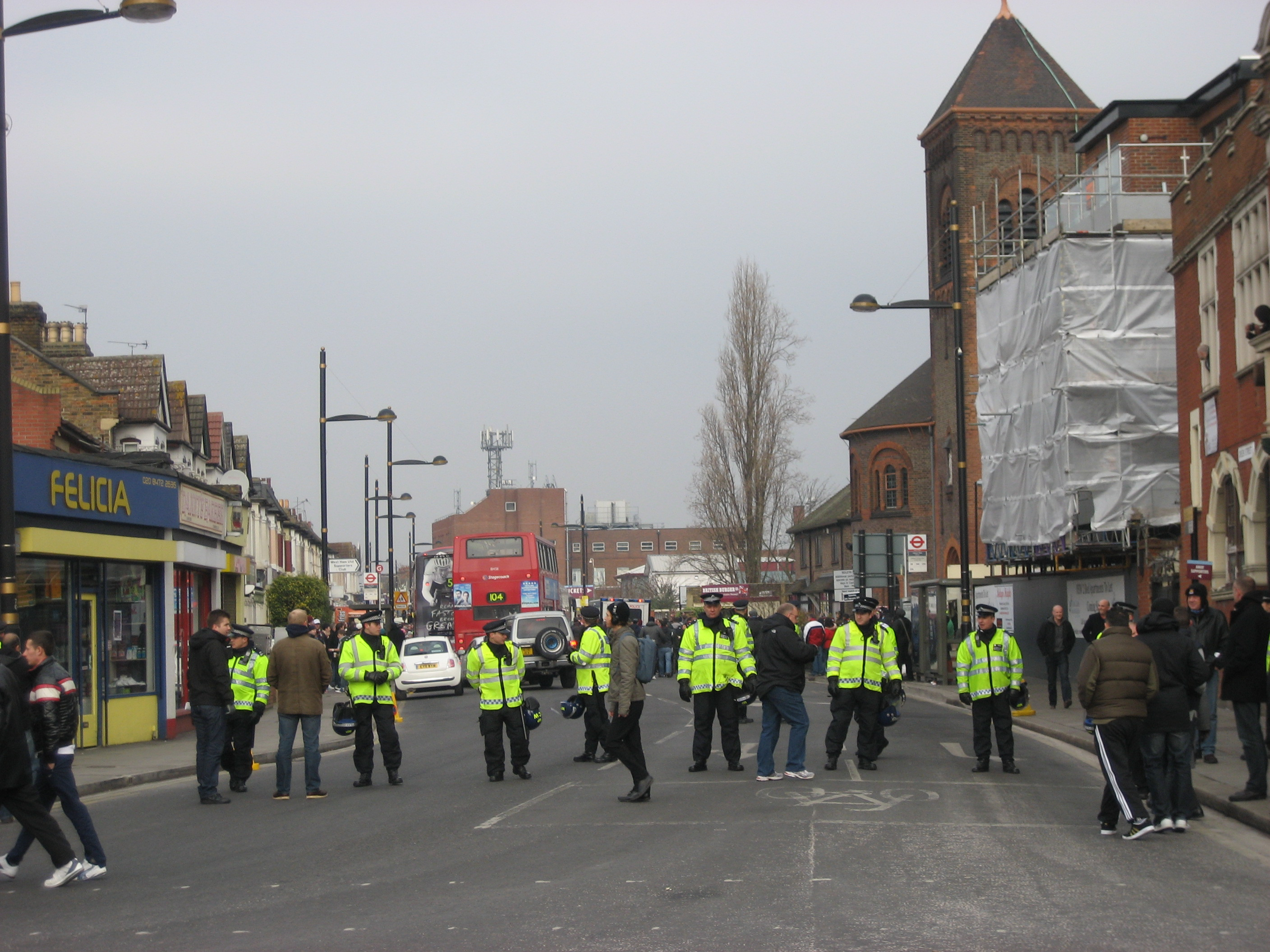 Police lining Green Street before the match