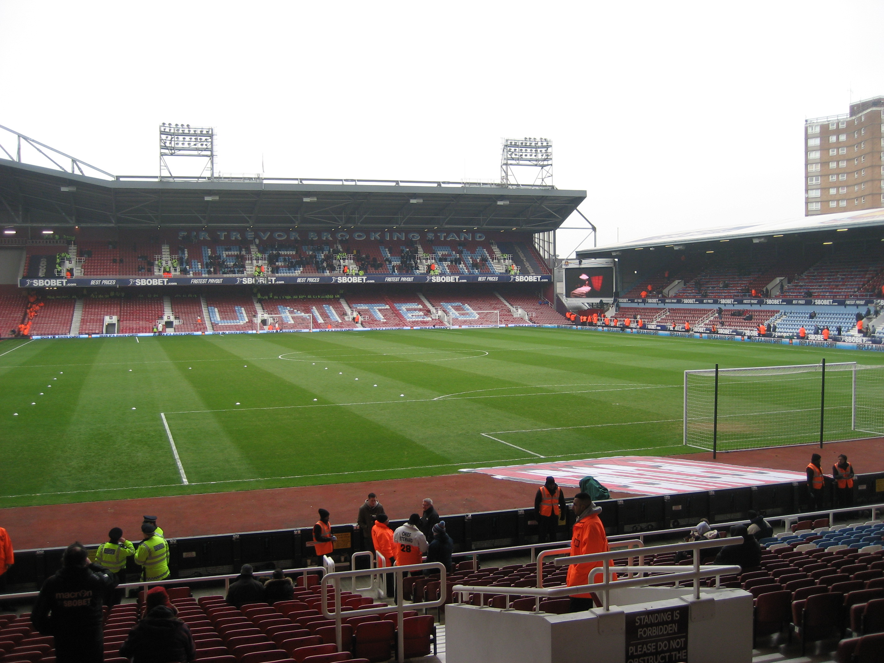 The pitch at Upton Park before the match