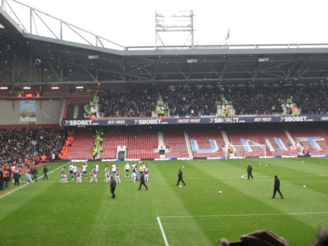 West Ham and Millwall coming out under the bubbles.