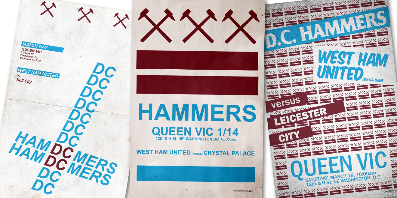D.C. Hardcore inspired D.C. Hammers match day posters from 2016/2017 season